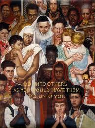 """""""La regola d'oro"""", opera di N. Rockwell. La scritta nel quadro dice: """"Non fare agli altri quello che non vuoi sia fatto a te""""."""